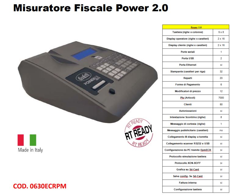 REGISTRATORE DI CASSA TELEMATICO POWER 2.0